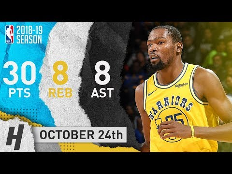 Kevin Durant SICK Highlights Warriors vs Wizards 2018.10.24 - 30 Pts, 8 Reb, 8 Assists!