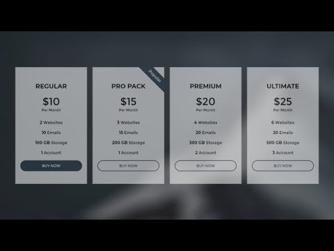 Responsive Pricing Table Using Only HTML & CSS