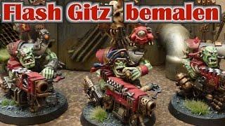 Warhammer 40K Ork Flash Gitz Posaz Miniaturen Bemal Tutorial für Fortgeschrittene mit Naßpalette