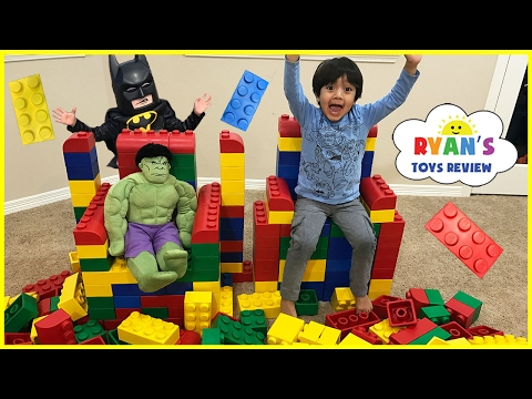 Thumbnail: GIANT LEGO BUILDING CHALLENGE FOR KIDS! Lego Batman Superhero IRL ! Family Fun Playtime with toys!