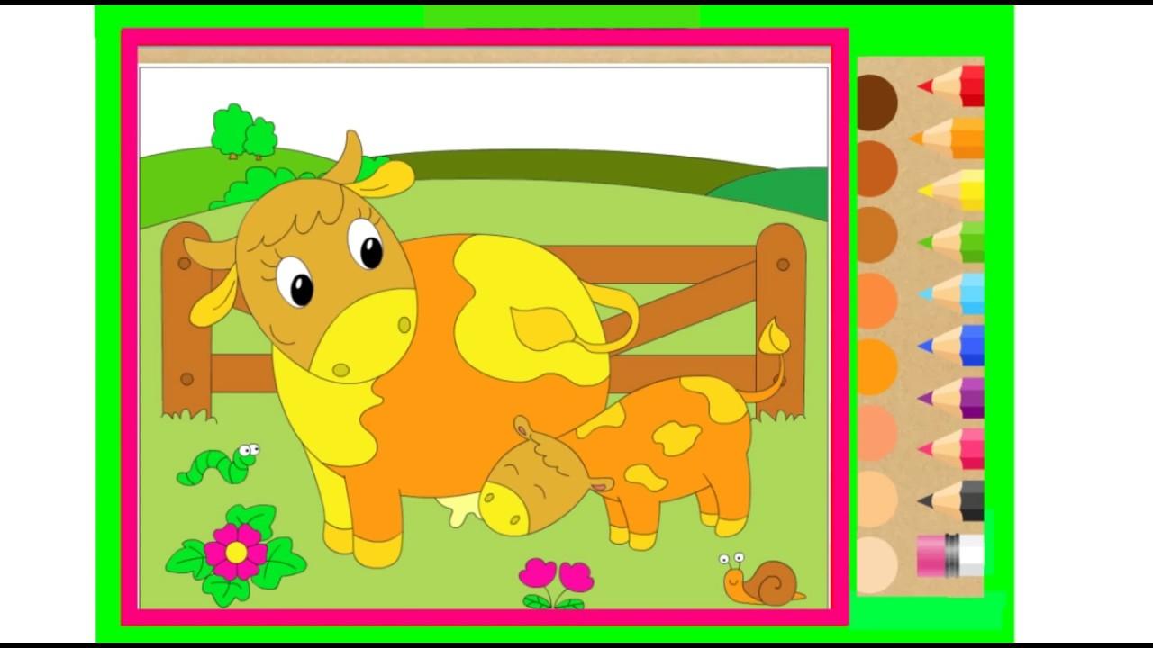 мультик раскраска, Корова и теленок. Раскраски для детей ...