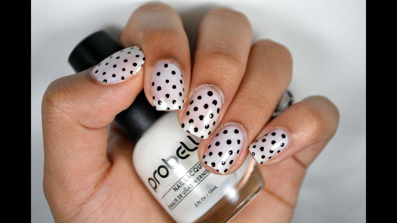 diy classy polka dots nail art