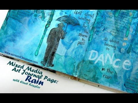 Mixed Media Art Journal Page: Rain
