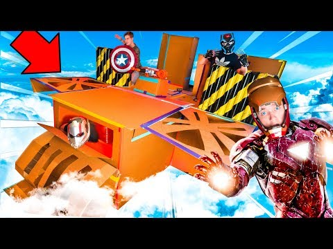 REAL LIFE AVENGERS PLANE BOX FORT! Iron Man, Black Panther & MORE!