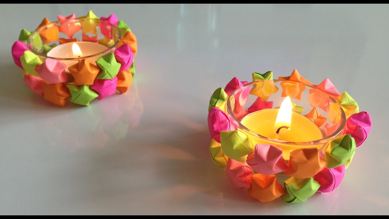 3D Origami Lucky Stars Candle Holders