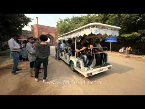 Battery operated eco-friendly vans for tourists near Taj Mahal