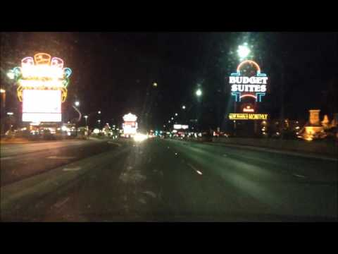 Full Night Drive Down Las Vegas Strip from North to South; Nevada