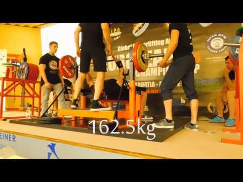 European GPA bench press record Teen III - 162.5kg