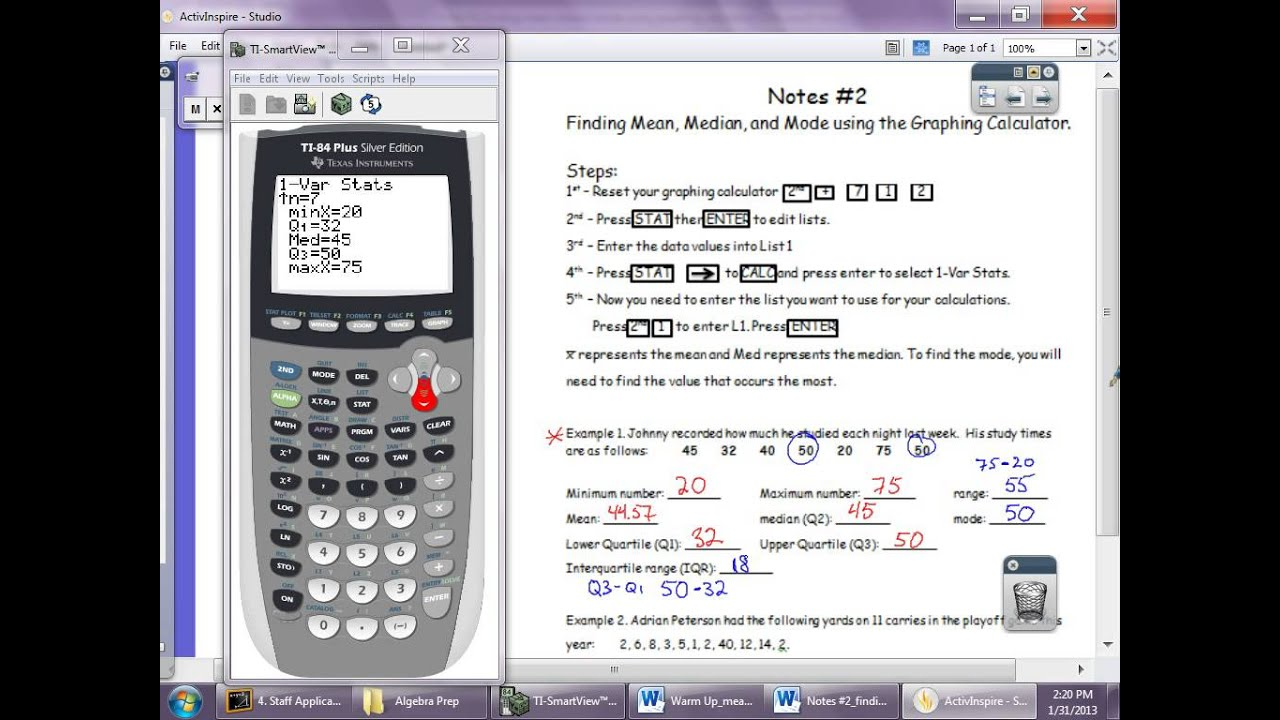 Finding Mean Median Mode Using Graphing Calculator Avi