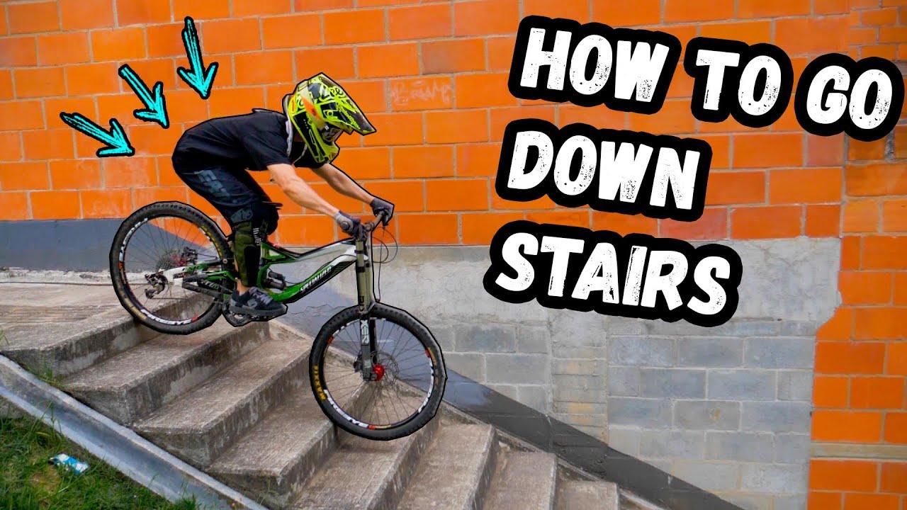 5 EASY AND BASIC MOUNTAIN  BIKING TRICKS TO GO DOWN STAIRS 🚀