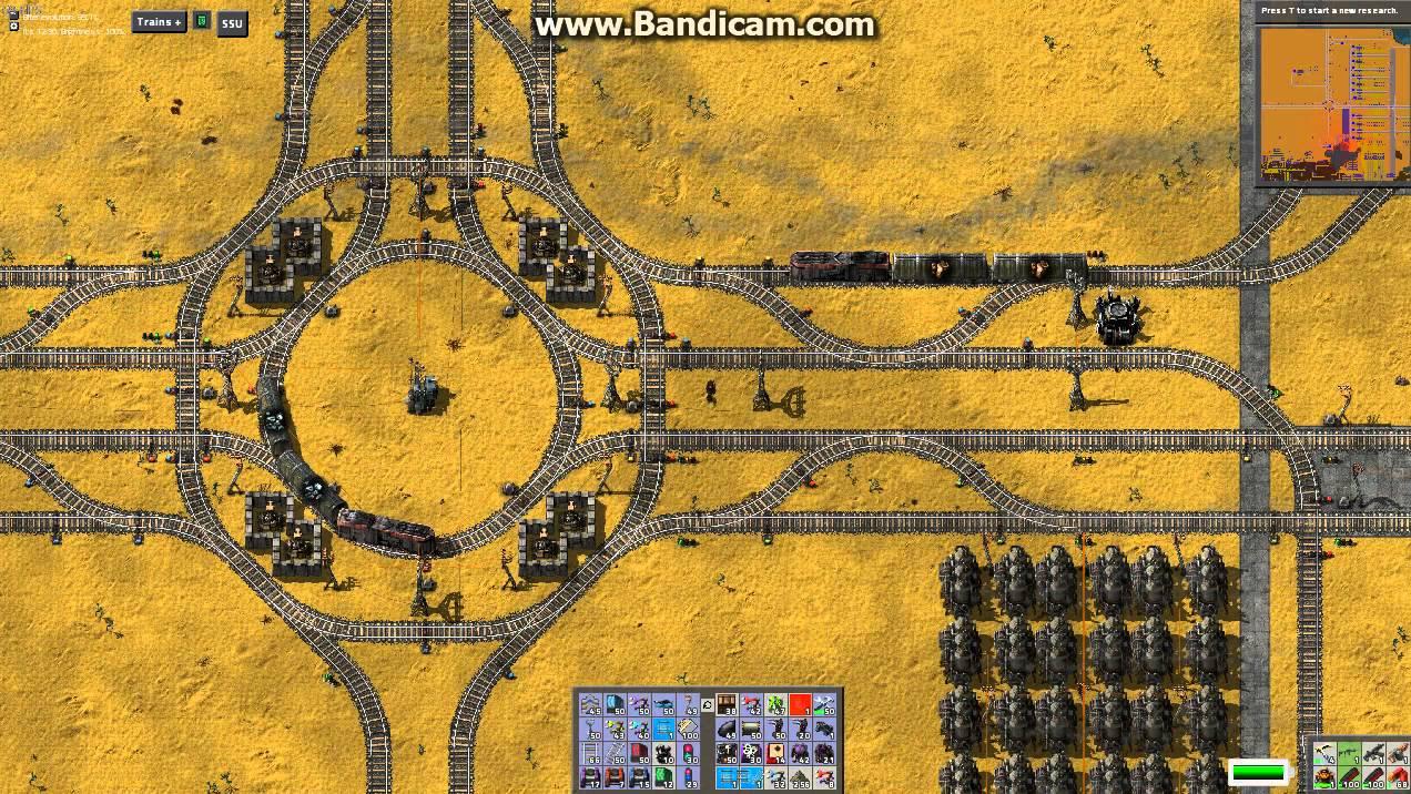 Factorio Trains, 3 way 4 Lane Intersection - YouTube