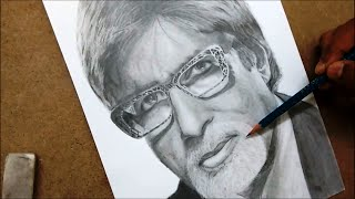 Drawing Amitabh Bachchan with Graphite pencils - Timelapse