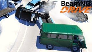Масштабное ДТП на Скользком Спуске - BeamNG drive
