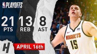Nikola Jokic Full Game 2 Highlights Nuggets vs Spurs 2019 NBA Playoffs - 21 Pts, 13 Reb, 8 Ast!