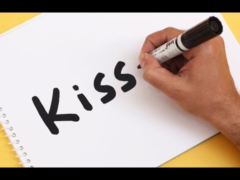 How to turn word KISS into a Cartoon ! Text To Picture Art for kids