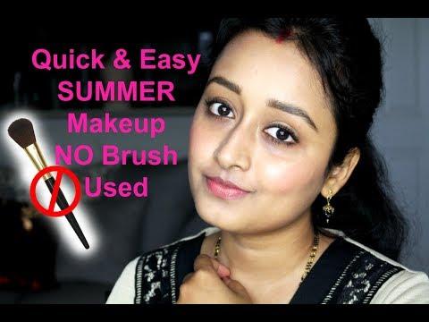 quick  easy beginners summer makeup  no makeup brush