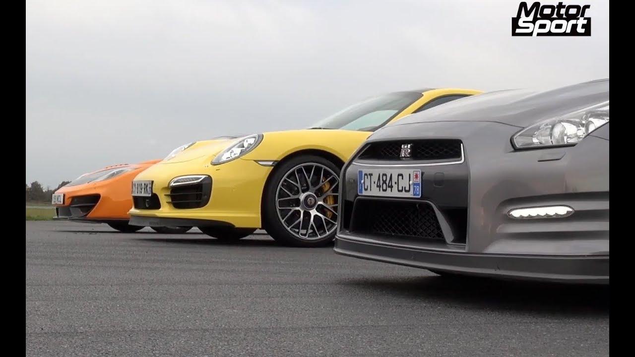 Drag Race 911 Turbo S Vs Mclaren 12c Vs Nissan Gt R