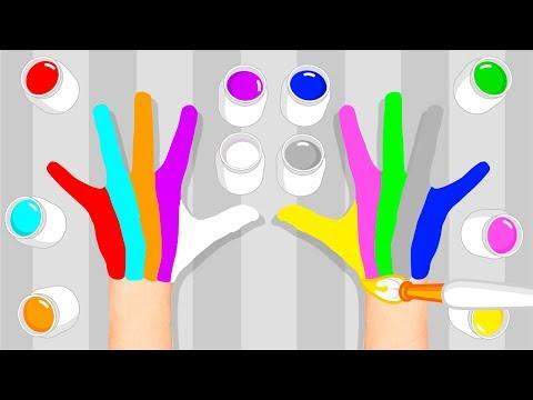 Familia Dedo de Colores ¡Aprende 10 Colores Pintando las Manos y Cantando!   Plim Plim