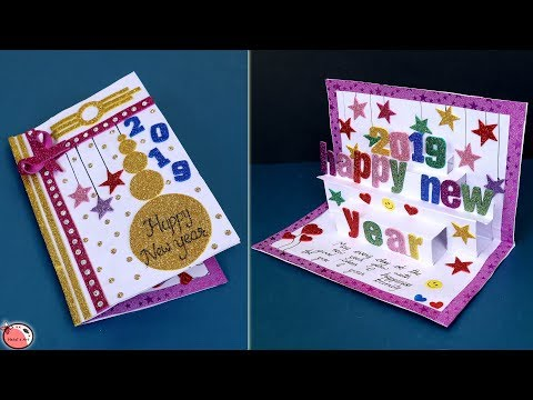 Very Easy New Year Pop Up Greeting Cards How To Make New Year Card At Home Craft