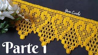 🌻 Puntilla para Servilletas y Toallas #92. Barrado em croché 1/2