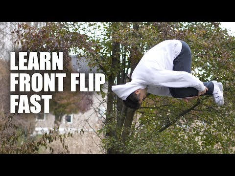 Learn Front Flip on Ground But First On The Trampoline