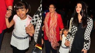 Aishwarya Rai & Daughter Aaradhya Bachchan Leaving For Cannes At Mumbai Airport