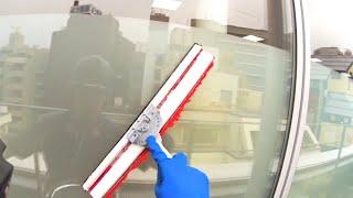 コンポジアルファ・窓ガラス清掃作業風景1(スロー再生あり)