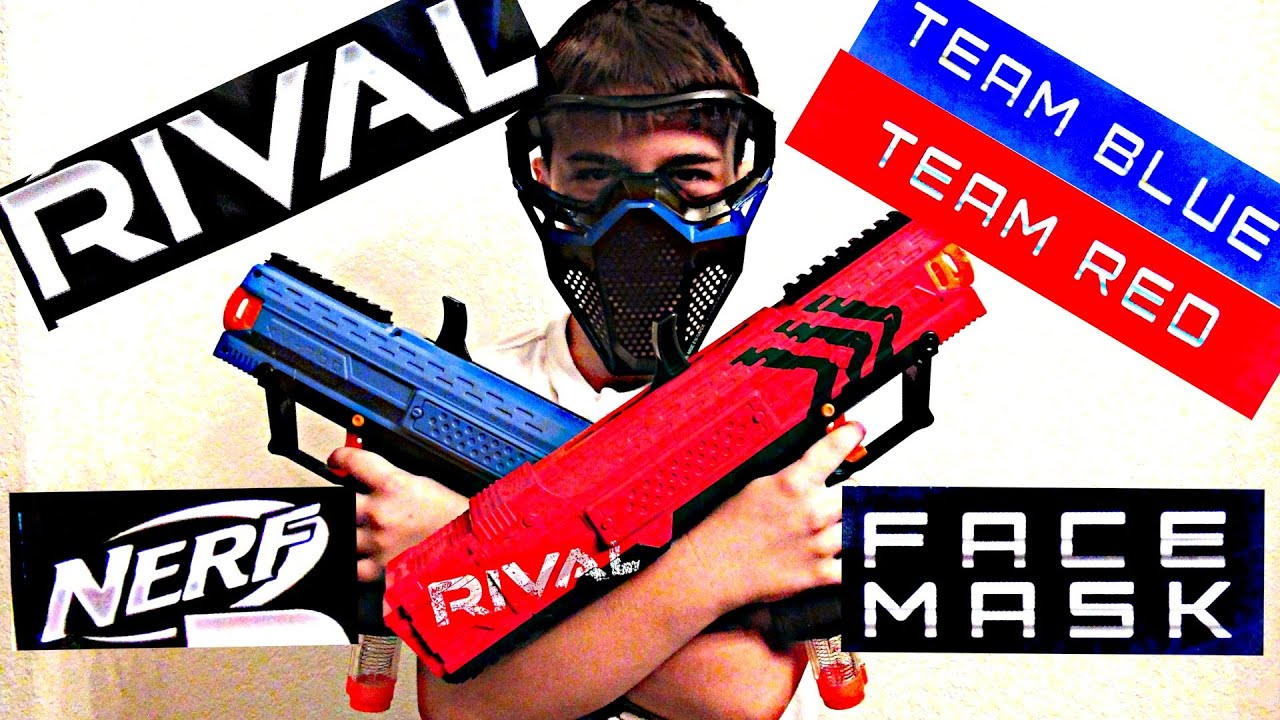 Robert Andre s NERF RIVAL FACE MASKs Red & BLUE Nerf Battle