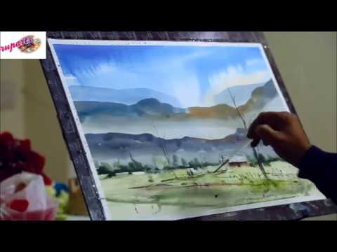 Watercolor painting landscape Demo at Rupa's Artwave Ludhiana by sikander singh India