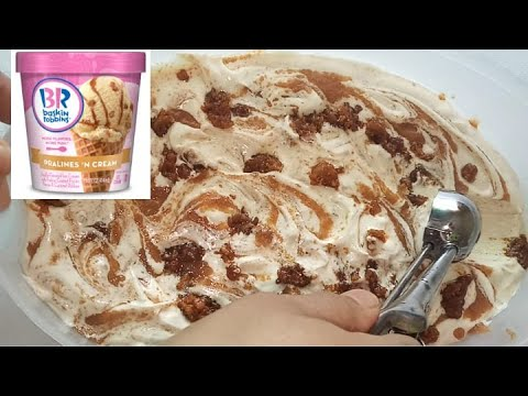 Baskin Robbins Ice Cream Toffee Flavor Yummy آيس كريم باسكن روبنز بنكهة التوفي ناجح 100 لذيذ جدا Youtube