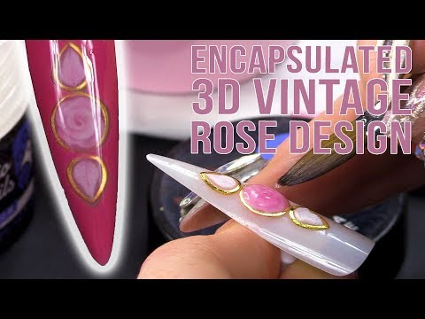 3D Acrylic Vintage Rose Design - Encapsulated and Framed in using Metallic Embellishments