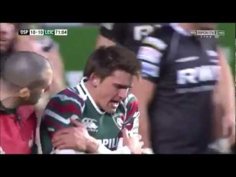 Toby Flood charges into post
