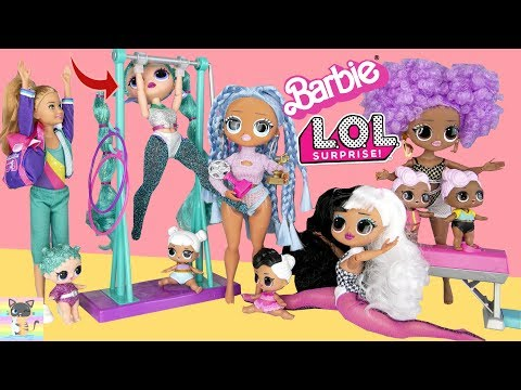 OMG Winter Disco Gymnastic Lessons to Win Olympic Trophy! New Barbie Team Stacie Gymnastic Doll!