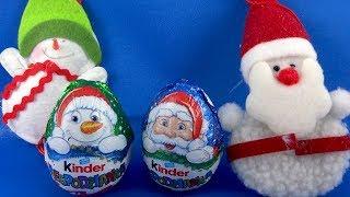 Merry Christmas Santa Claus Snowman Kinder Surprise Eggs Opening #180