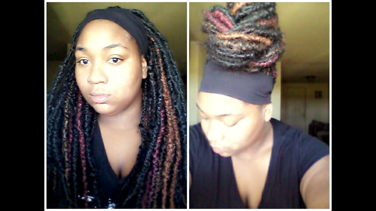 DIY double ended synthetic dreads installed in natural hair