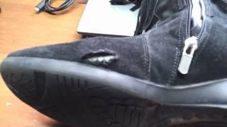 Ремонт Обуви внутренняя латка посередине замша(Иногда приносят и такое... когда кожу порвали обо что то зацепив посередине сапога ( не на границе с подошвой..., 2012-04-20T06:15:28.000Z)