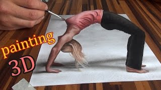 Drawing of an anamorphic optical illusion/ 3D painting