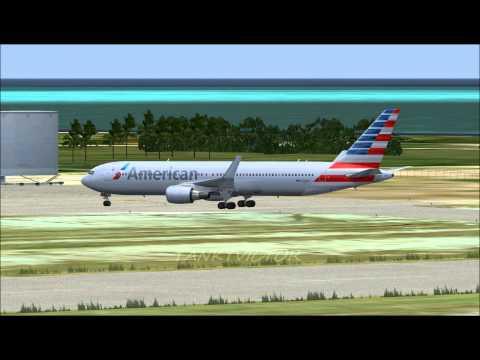 AMERICAN AIRLINES 767 LANDING IN OWEN ROBERTS INTERNATIONAL AIRPORT CAIMAN ISLAND    FS2004 HD