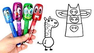 Drawing & Coloring with Scentos Bobblehead Markers PJ Masks Peppa Pig Gerald Giraffe Pocoyo Doraemon