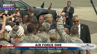 WHEELS DOWN: President Trump Greeted by Crowd After Landing in New York
