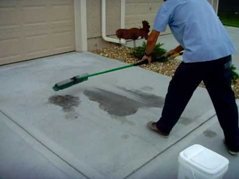 How to clean oil from concrete with waterless cleaner from for What to clean concrete with