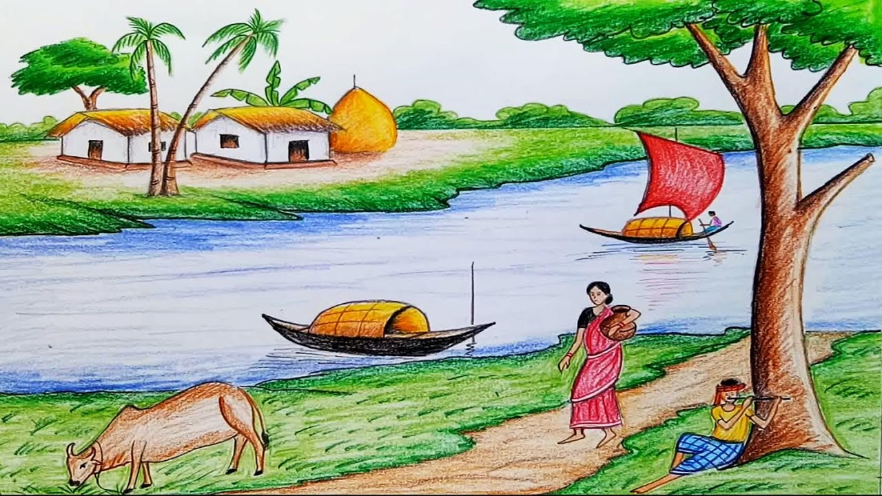 How to draw scenery of Ruposhi Bangla / landscape