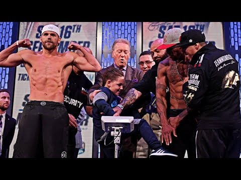 (WOW) LOW BLOW! -BILLY JOE SAUNDERS SON PUNCHES WILLIE MONROE JR IN THE BALLS & KICKS HIM @ WEIGH IN