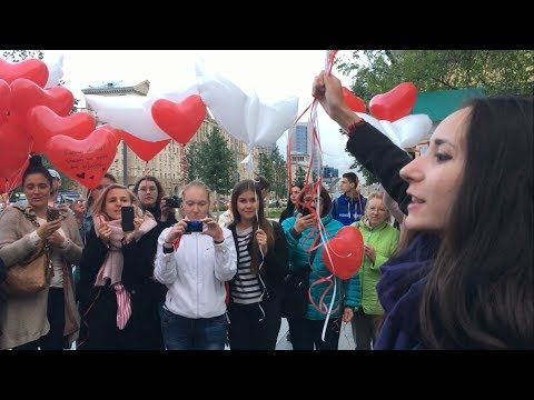 Honoring Michael Jackson. Hundreds of balloons for MJ - 29.08.2017, Moscow, Russia.