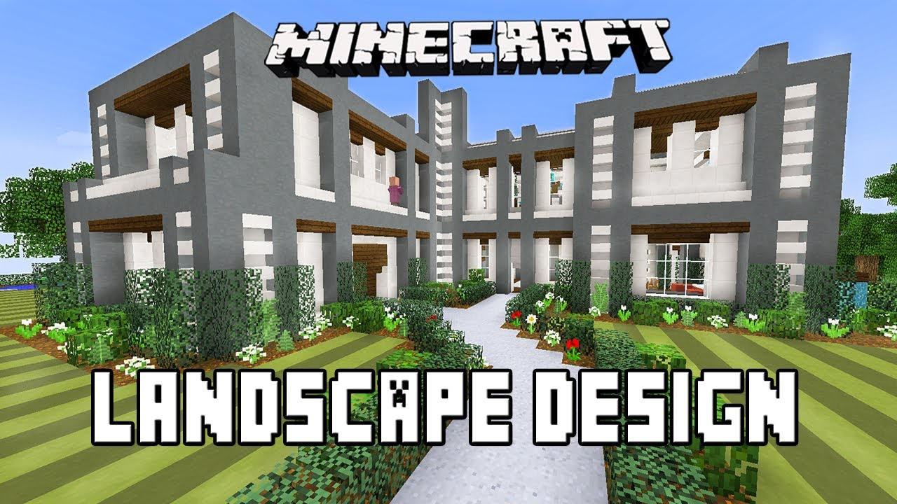 Minecraft tutorial modern garden landscape design ideas modern house build ep 22 youtube