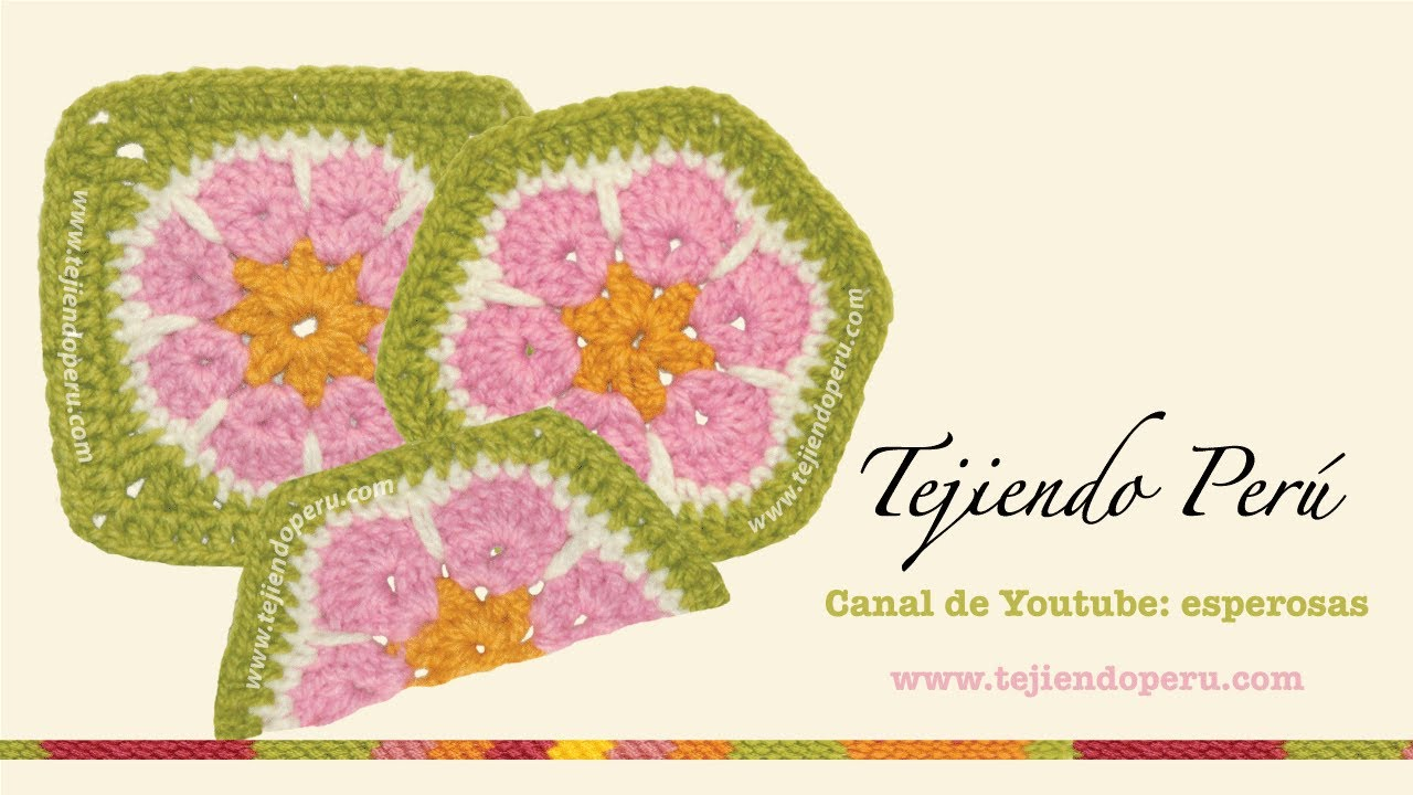 Cómo tejer una flor africana (african flower) a crochet: hexágono ...