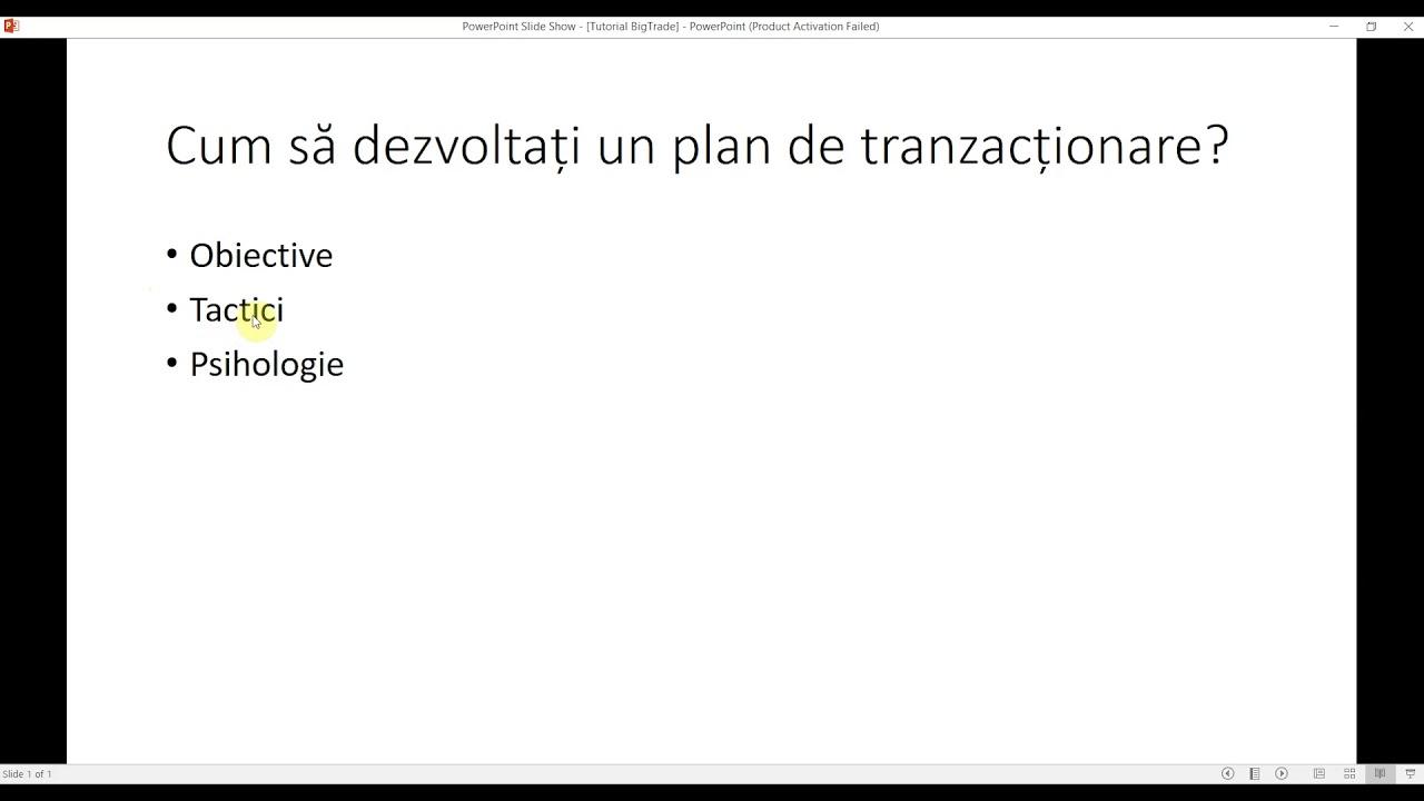 dezvoltarea unui plan de tranzacționare în tranzacționare)