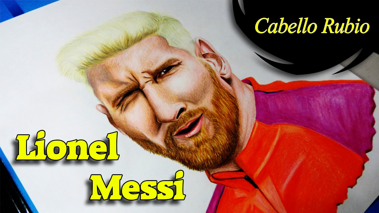 DIBUJANDO A LIONEL MESSI CABELLO RUBIO  MIGUELANGEL ZABALA  YouTube