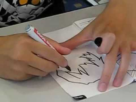 Gainax animator drawing an Ayanami Rei sketch
