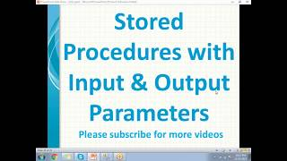 SQL Stored procedures with output parameters